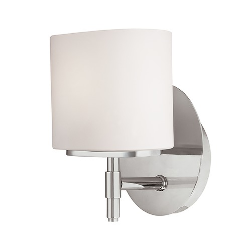 Hudson Valley Lighting Modern Sconce with White Glass in Satin Nickel Finish 8901-SN