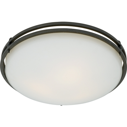 Quoizel Lighting Modern Flushmount Light with White Glass in Iron Gate Finish OZ1616IN