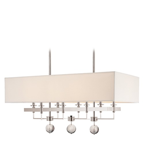 Hudson Valley Lighting Modern Island Light with White Shades in Polished Nickel Finish 5648-PN