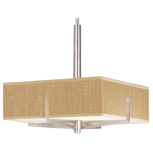 ET2 Lighting Modern Pendant Light with Brown Shades in Satin Nickel Finish E95345-101SN