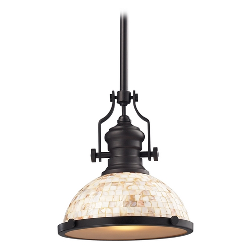 Elk Lighting Pendant Light with Beige / Cream Glass in Oiled Bronze Finish 66433-1