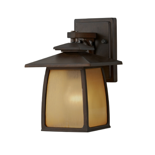 Sea Gull Lighting Outdoor Wall Light with Beige / Cream Glass in Sorrel Brown Finish OL8500SBR