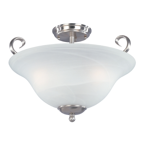 Designers Fountain Lighting Semi-Flushmount Light with Alabaster Glass in Satin Platinum Finish 98011-SP