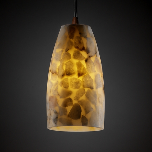 Justice Design Group Justice Design Group Alabaster Rocks! Collection Mini-Pendant Light ALR-8816-65-NCKL
