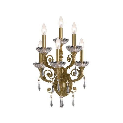 Crystorama Lighting Crystal Sconce Wall Light in Aged Brass Finish 5176-AG-CL-S