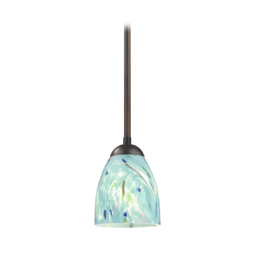 Design Classics Lighting Bronze Mini-Pendant Light with Turquoise Bell Art Glass 581-220 GL1021MB