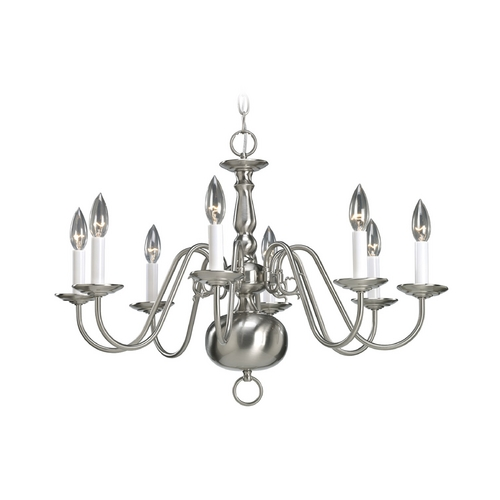 Progress Lighting Progress 8-Light Williamsburg Chandelier in Satin Nickel Finish P4357-09