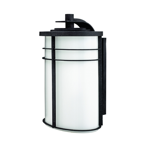 Hinkley Lighting Outdoor Wall Light with White Glass in Vintage Black Finish 1129VK