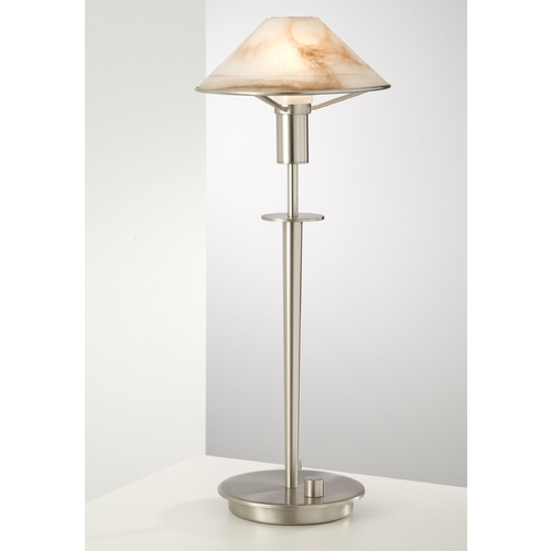 Holtkoetter Lighting Holtkoetter Modern Table Lamp with Alabaster Glass in Satin Nickel Finish 6514 SN ABR