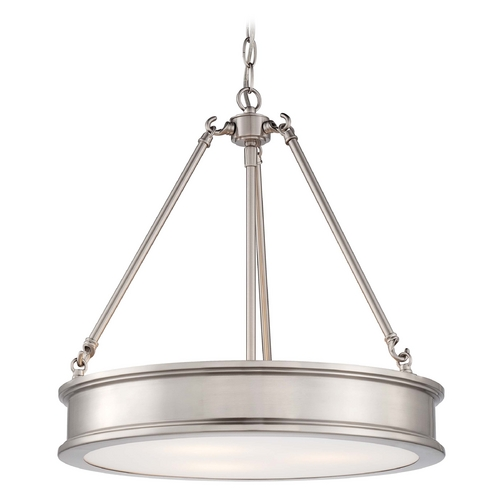 Minka Lavery Drum Pendant Light with White Glass in Brushed Nickel Finish 4173-84