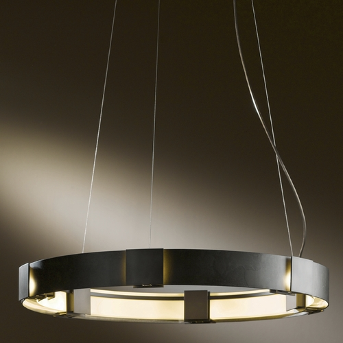 Hubbardton Forge Lighting Hubbardton Forge Lighting Aura Burnished Steel LED Pendant Light 138587D-08-ZM399