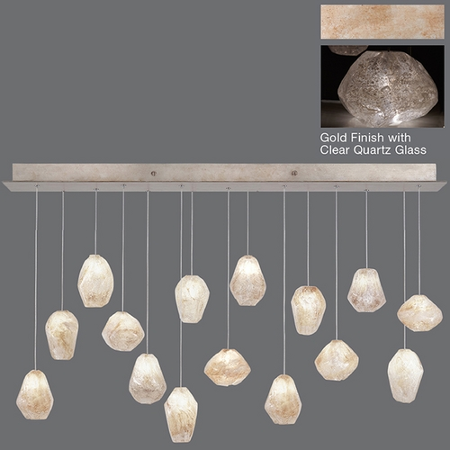 Fine Art Lamps Fine Art Lamps Natural Inspirations Gold-Toned Silver Leaf Multi-Light Pendant 853740-23ST