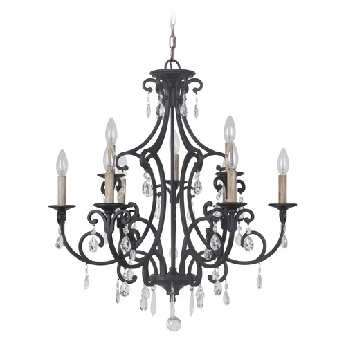 Craftmade Lighting Craftmade Bentley Matte Black Crystal Chandelier 38929-MBK