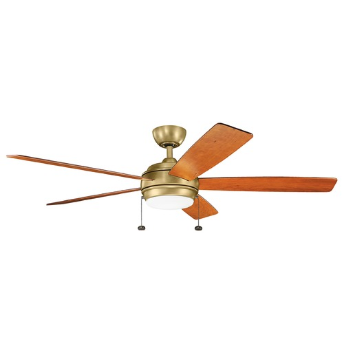 Kichler Lighting Kichler Lighting Starkk Natural Brass LED Ceiling Fan with Light 330180NBR