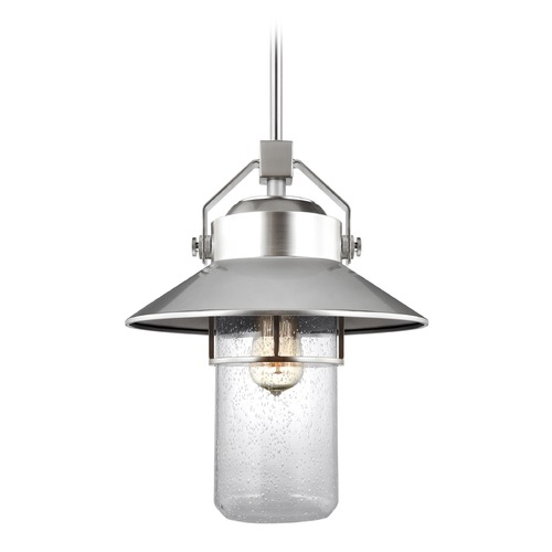 Feiss Lighting Seeded Glass Outdoor Hanging Light Painted Brushed Steel Feiss Lighting OL13912PBS