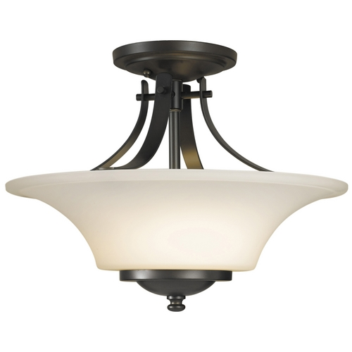 Feiss Lighting Modern Semi-Flushmount Light with White Glass in Oil Rubbed Bronze Finish SF241ORB