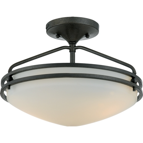 Quoizel Lighting Modern Semi-Flushmount Light with White Glass in Iron Gate Finish OZ1713IN