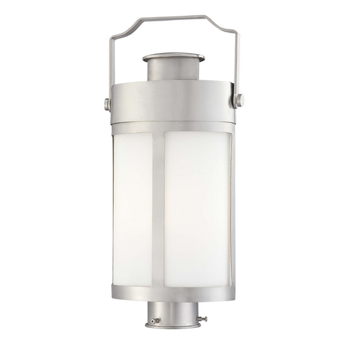 Minka Lavery Post Light with White Glass in Brushed Stainless Steel Finish 72196-144