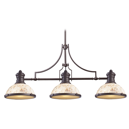 Elk Lighting Island Light with Beige / Cream Glass in Oiled Bronze Finish 66435-3