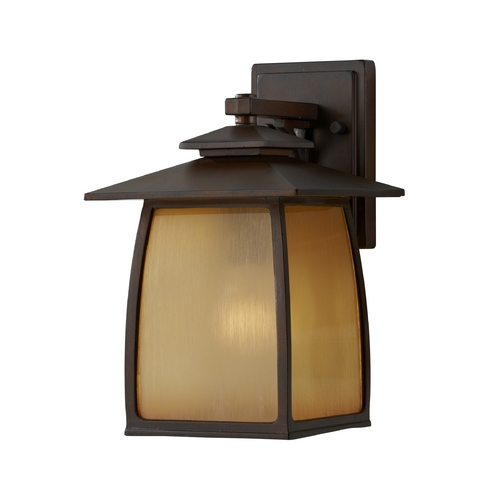 Sea Gull Lighting Outdoor Wall Light with Beige / Cream Glass in Sorrel Brown Finish OL8501SBR