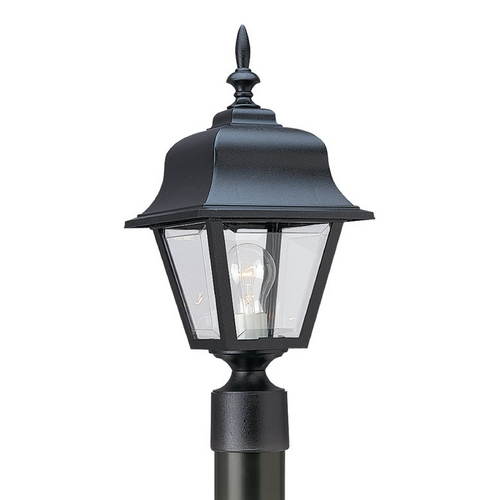 Sea Gull Lighting Post Light with Clear Glass in Black Finish 8255-12