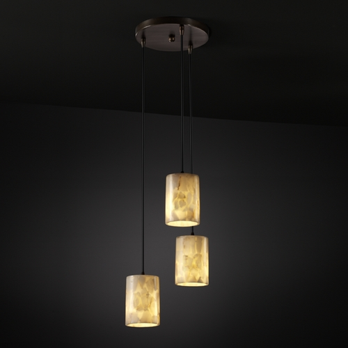 Justice Design Group Justice Design Group Alabaster Rocks! Collection Multi-Light Pendant ALR-8818-10-DBRZ