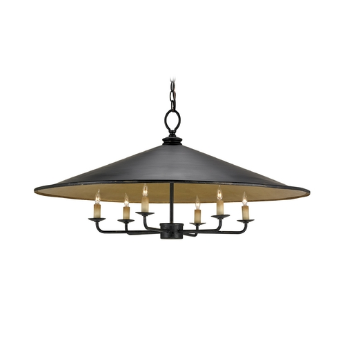 Currey and Company Lighting Modern Pendant Light in French Black/contemporary Gold Leaf Finish 9873