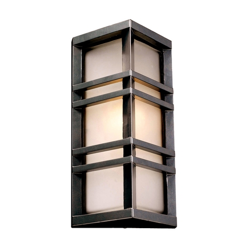 PLC Lighting Modern Outdoor Wall Light with White Glass in Bronze Finish 8020  BZ