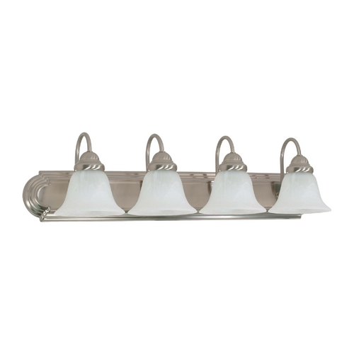 Nuvo Lighting Bathroom Light with Alabaster Glass in Brushed Nickel Finish 60/3211