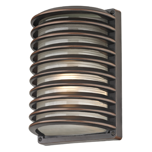 Design Classics Lighting Bronze Outdoor Wall Light with White Glass and Horizontal Banding 3371 RBZ