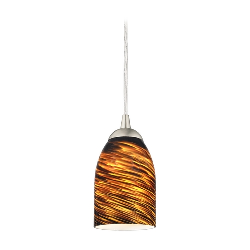 Design Classics Lighting Modern Mini-Pendant Light with Brown Art Glass 582-09 GL1023D