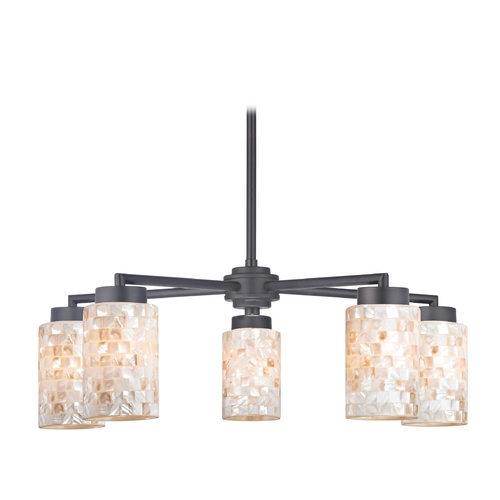 Design Classics Lighting Black Chandelier with Mosaic Glass Cylinder Shades 590-07 GL1026C