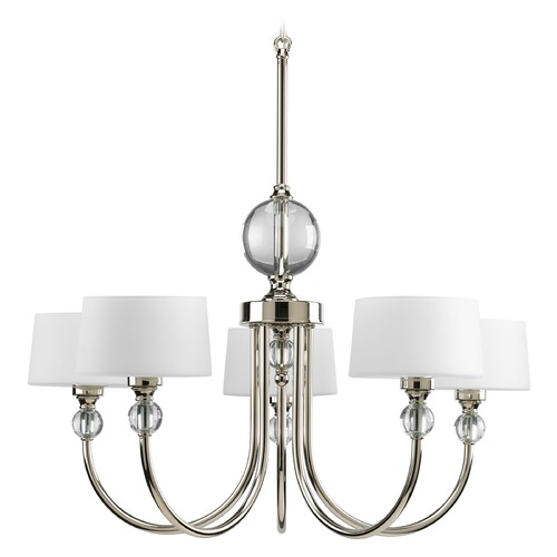 Progress Lighting Progress Modern Chandelier with White Glass in Polished Nickel Finish P4674-104