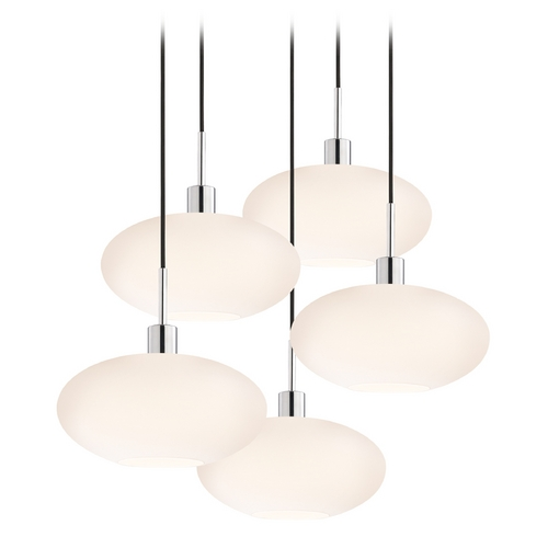 Sonneman Lighting Modern Multi-Light Pendant Light with White Glass and 5-Lights 3567.01K-5