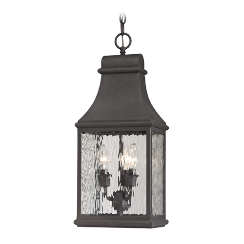Elk Lighting Outdoor Hanging Light with Clear Glass in Charcoal Finish 47074/3