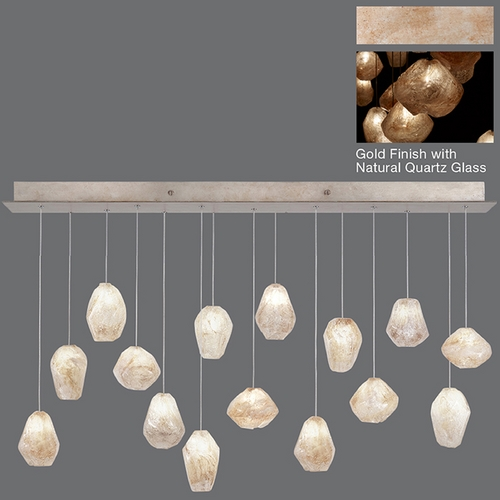 Fine Art Lamps Fine Art Lamps Natural Inspirations Gold-Toned Silver Leaf Multi-Light Pendant 853740-24ST
