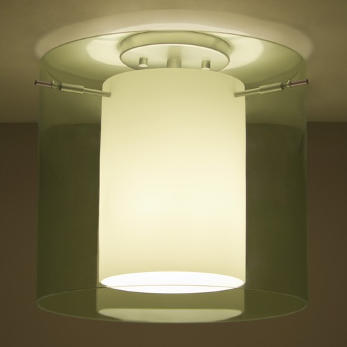 Besa Lighting Besa Lighting Pahu Satin Nickel Semi-Flushmount Light 1KM-L18407-SN