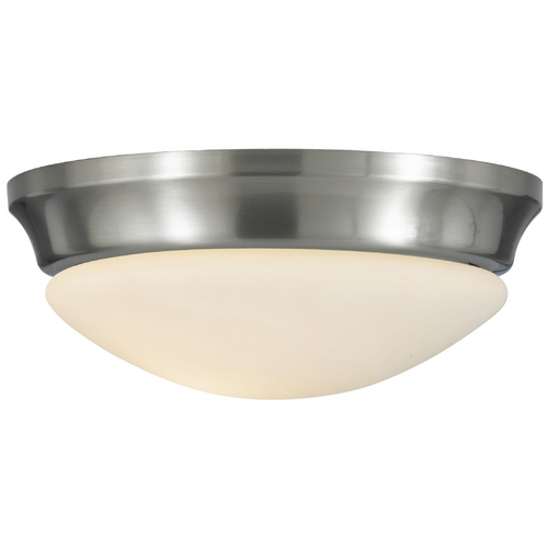 Feiss Lighting Modern Flushmount Light with White Glass in Brushed Steel Finish FM271BS