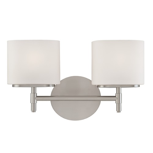 Hudson Valley Lighting Modern Bathroom Light with White Glass in Satin Nickel Finish 8902-SN