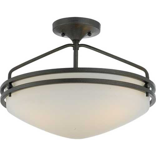 Quoizel Lighting Modern Semi-Flushmount Light with White Glass in Iron Gate Finish OZ1716IN