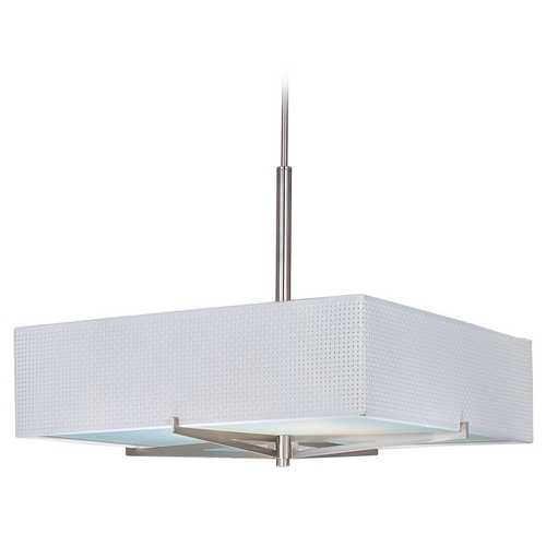 ET2 Lighting Modern Pendant Light with White Shades in Satin Nickel Finish E95348-100SN