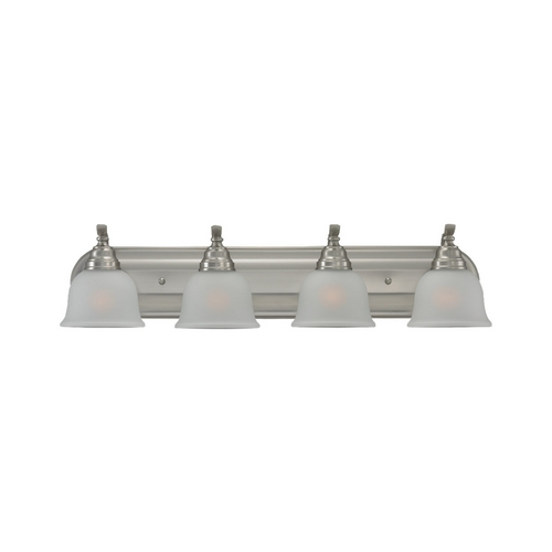 Sea Gull Lighting Bathroom Light with White Glass in Brushed Nickel Finish 44628-962