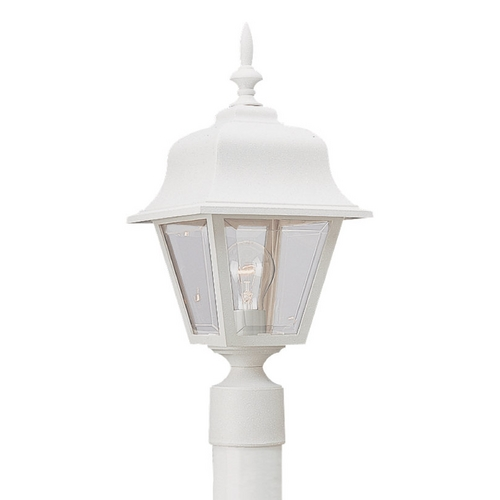 Sea Gull Lighting Post Light with Clear Glass in White Finish 8255-15