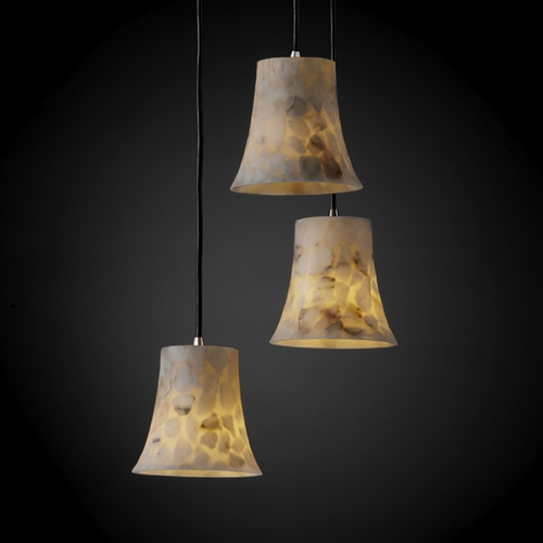 Justice Design Group Justice Design Group Alabaster Rocks! Collection Multi-Light Pendant ALR-8818-20-NCKL