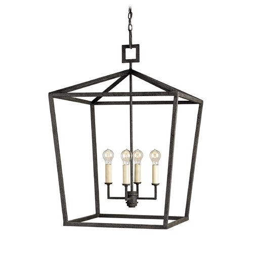 Currey and Company Lighting Modern Pendant Light in Mole Black Finish 9871