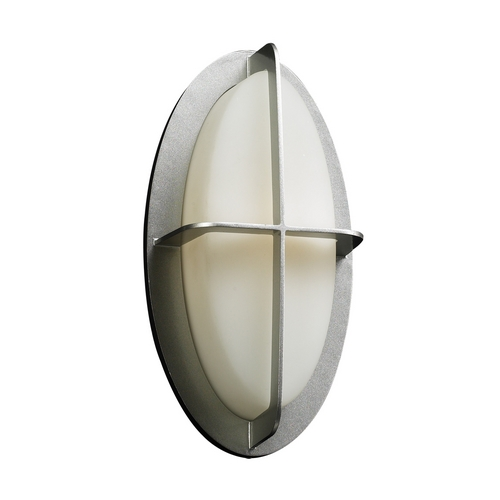 PLC Lighting Modern Outdoor Wall Light with White Glass in Silver Finish 8016  SL