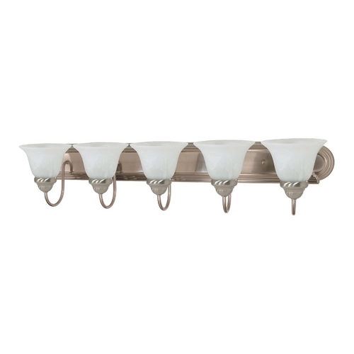 Nuvo Lighting Bathroom Light with Alabaster Glass in Brushed Nickel Finish 60/3212