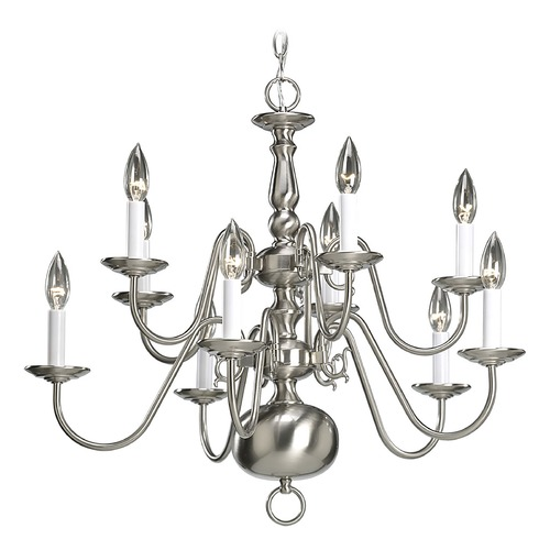 Progress Lighting Progress Chandelier in Brushed Nickel Finish P4358-09