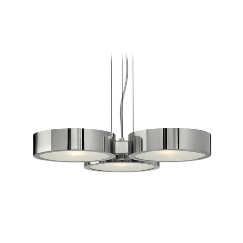 Frederick Ramond Modern Drum Pendant Light with White Glass in Polished Aluminum Finish FR41433PAL