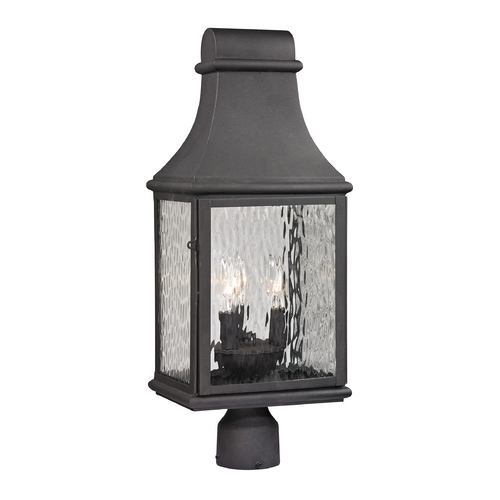 Elk Lighting Post Light with Clear Glass in Charcoal Finish 47075/3
